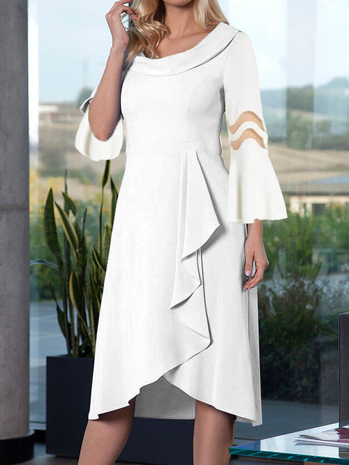 Exclusive Round Neck Solid Color Hollow Out Asymmetric Hem Half Sleeve A-Line Casual Midi Dresses UED118