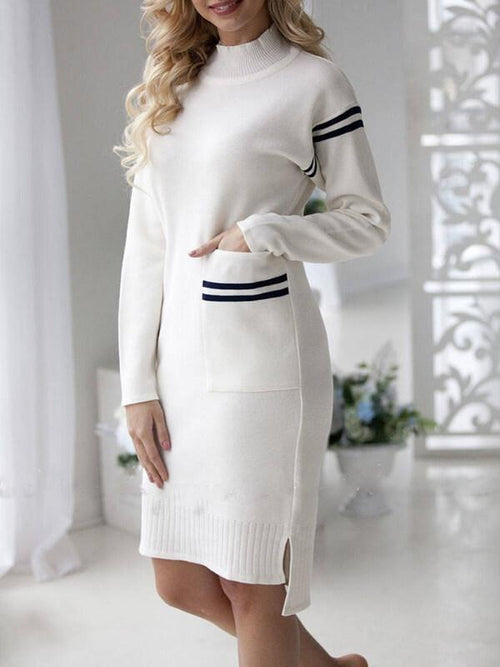 White Elegant Chic Party Color Block Pocket Stripe Dress UPD427