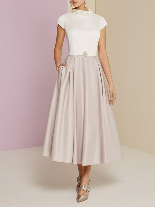 A Line Satin Short Sleeve Midi Cocktail Party Wedding Mother's Dresses-PreOrder4