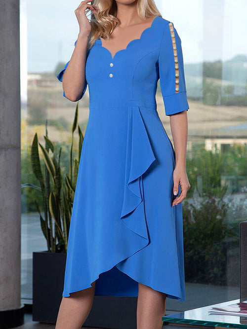 Exclusive V-Neck Solid Color Beaded Asymmetric Hem Half Sleeve A-Line Casual Midi Dresses UED120