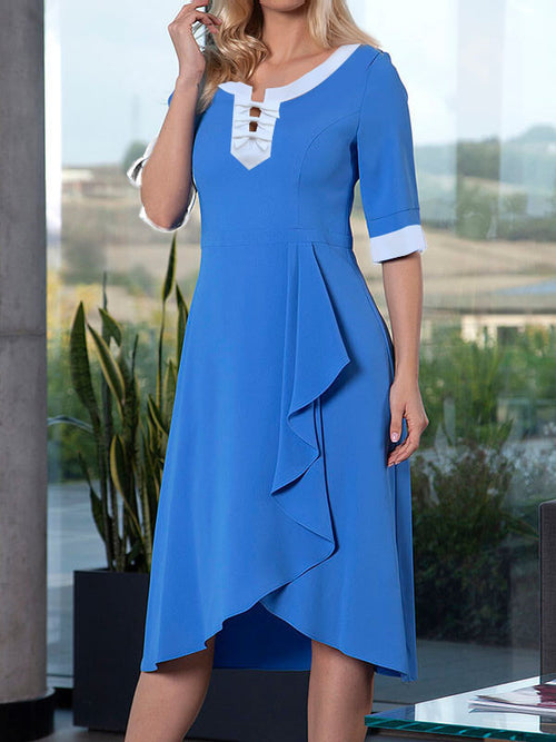 Exclusive Round Neck Stripe Asymmetric Hem Half Sleeve A-Line Casual Midi Dresses UED121