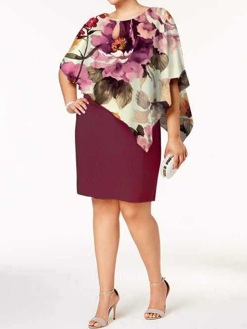 Exclusive Round Neck Floral Wrap Sheath Above Knee Half Sleeve Dresses UED136