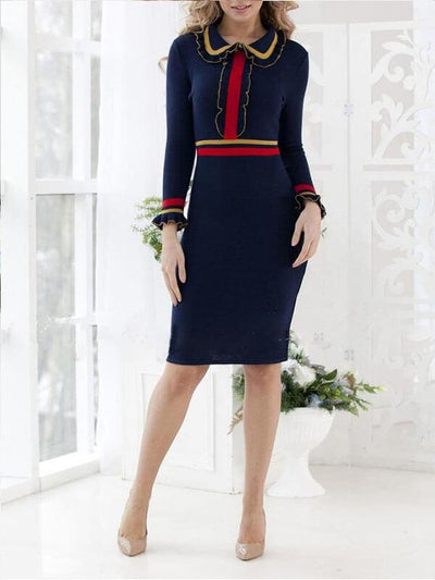 Dark Blue Elegant Chic Party Color Block Stripe Dress UPD423