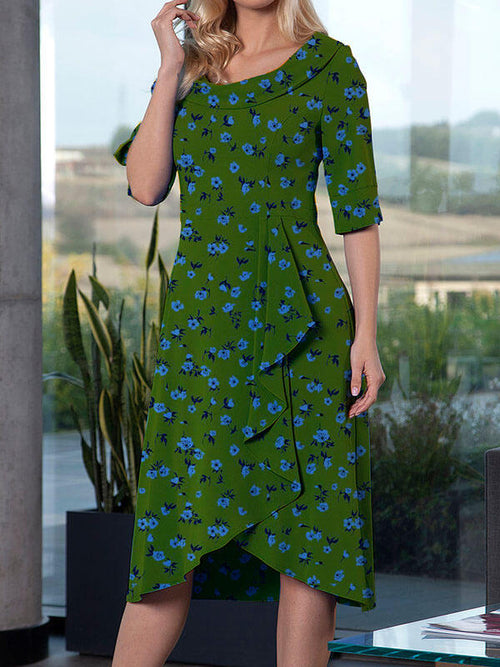 Exclusive Round Neck Floral Asymmetric Hem Half Sleeve A-Line Casual Midi Dresses UED122
