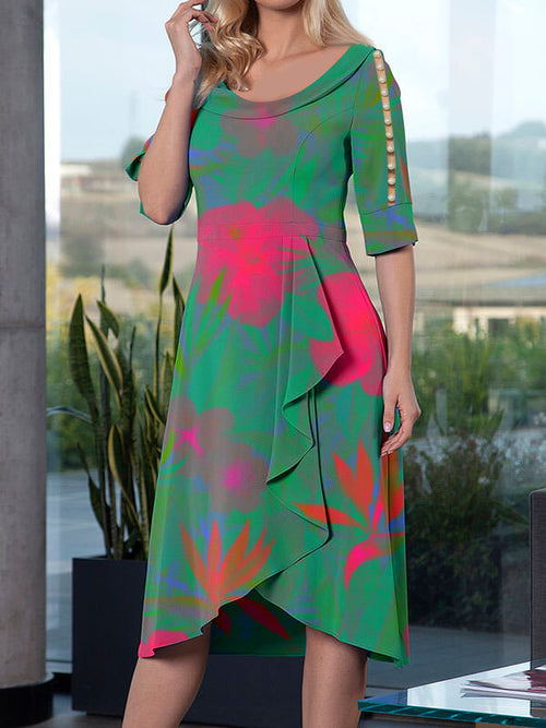 Exclusive Round Neck Floral Beaded Asymmetric Hem Half Sleeve A-Line Casual Midi Dresses UED123
