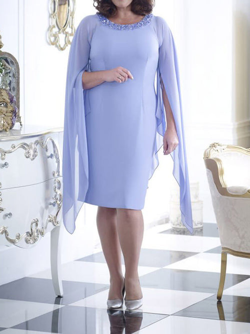 Bodycon Chiffon Beaded Long Sleeves Knee Length Cocktail Party Wedding Mother's Dresses UMD111