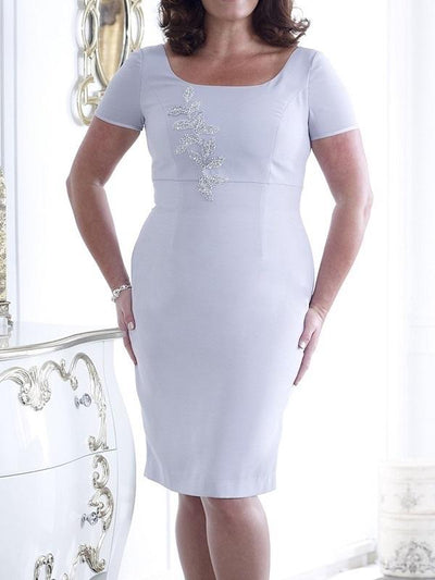Women's Two-piece Solid Color Boat Neck Above Knee 3/4 Length Sleeve For Mother Dresses UPD131