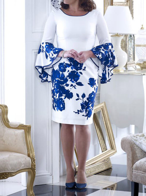 Bodycon Satin Floral Long Sleeves Knee Length Cocktail Party Wedding Mother's Dresses UMD108