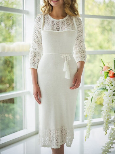 White Elegant Chic Hollow Out Solid Color Lace Midi Dress UPD426
