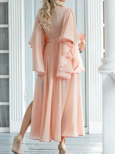 Pink Long Sleeve Elegant Chic A-line Solid Color Split Maxi Dress UPD431