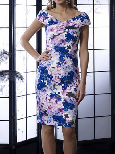 Bodycon Floral Short Sleeve Knee Length Cocktail Party Wedding Mother's Dresses UMD89