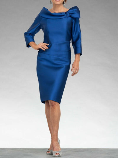 Women's Solid Color Draped Neck Knee Length 3/4 Length Sleeve For Mother Dresses UPD176