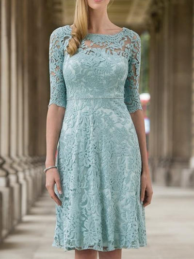Women's Solid Color Lace Applique Round Neck Knee Length Half Sleeve For Mother Dresses UPD167