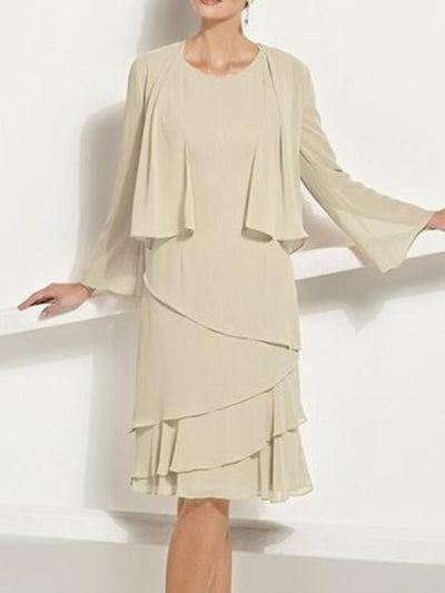 Women's Solid Color Round Neck Knee Length Long Sleeve For Mother Dresses UPD184