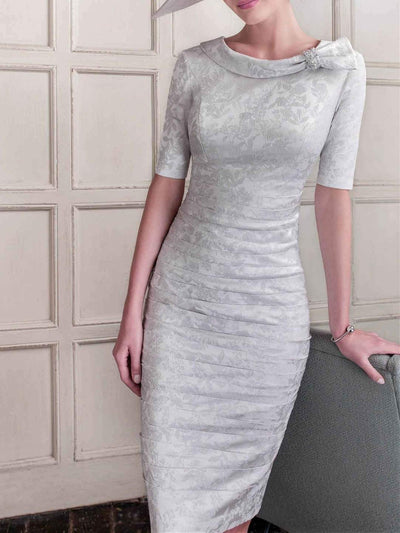 Women's Solid Color Print Round Neck Knee Length Half Sleeve For Mother Dresses UPD114