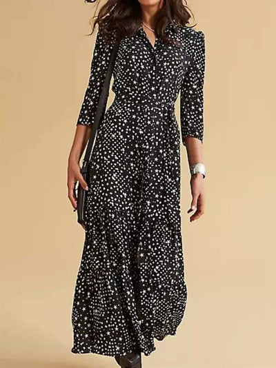 Star Print V-Neck Maxi 3/4 Length Sleeve Party Mother's Dresses UPD320