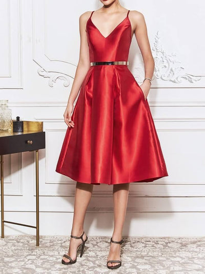 A Line Satin Solid Color Sleeveless Knee Length Cocktail Party Wedding Mother's Dresses UPD200