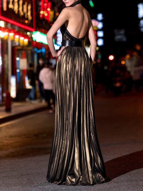 A Line Satin Halter Neck Sleeveless Maxi Cocktail Party Wedding Mother's Dresses UPD82