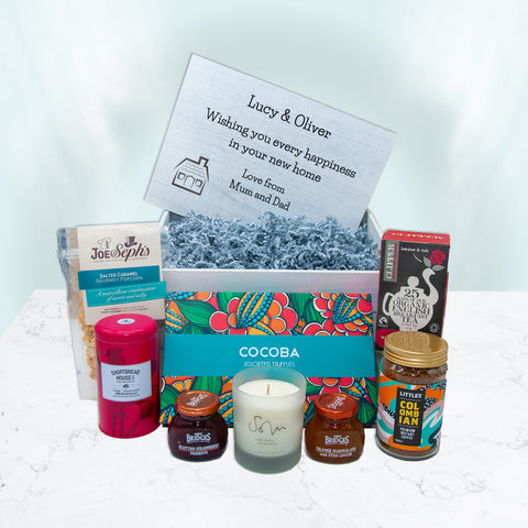 New Home Just Because Hamper - containing luxury essentials and Hand poured candle