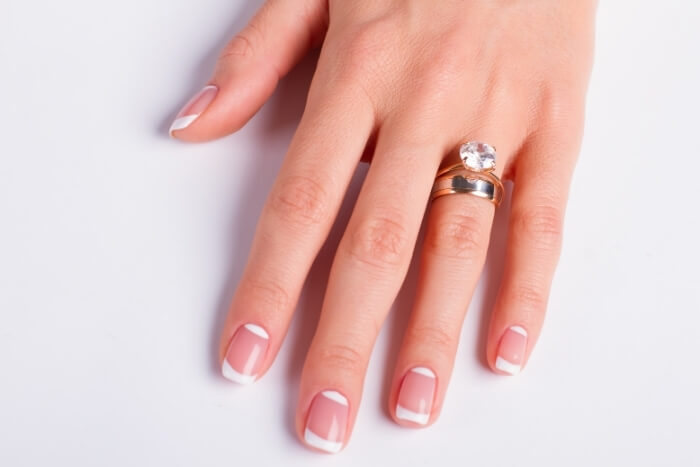 Stacked-Rings-on-woman's-finger