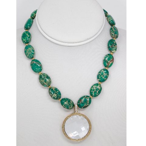 Graham Creek - Green Magnesite & Crystal Necklace
