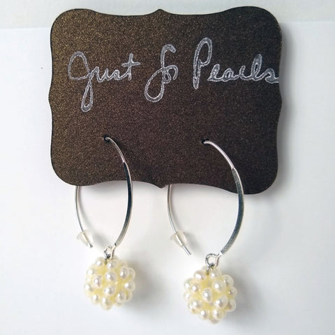 Just for Pearls - Cluster Hoop Earrings