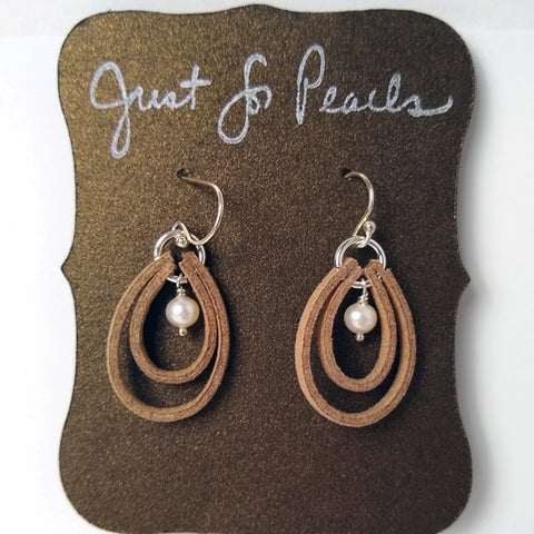 Just for Pearls - Pearl & Suede Earrings