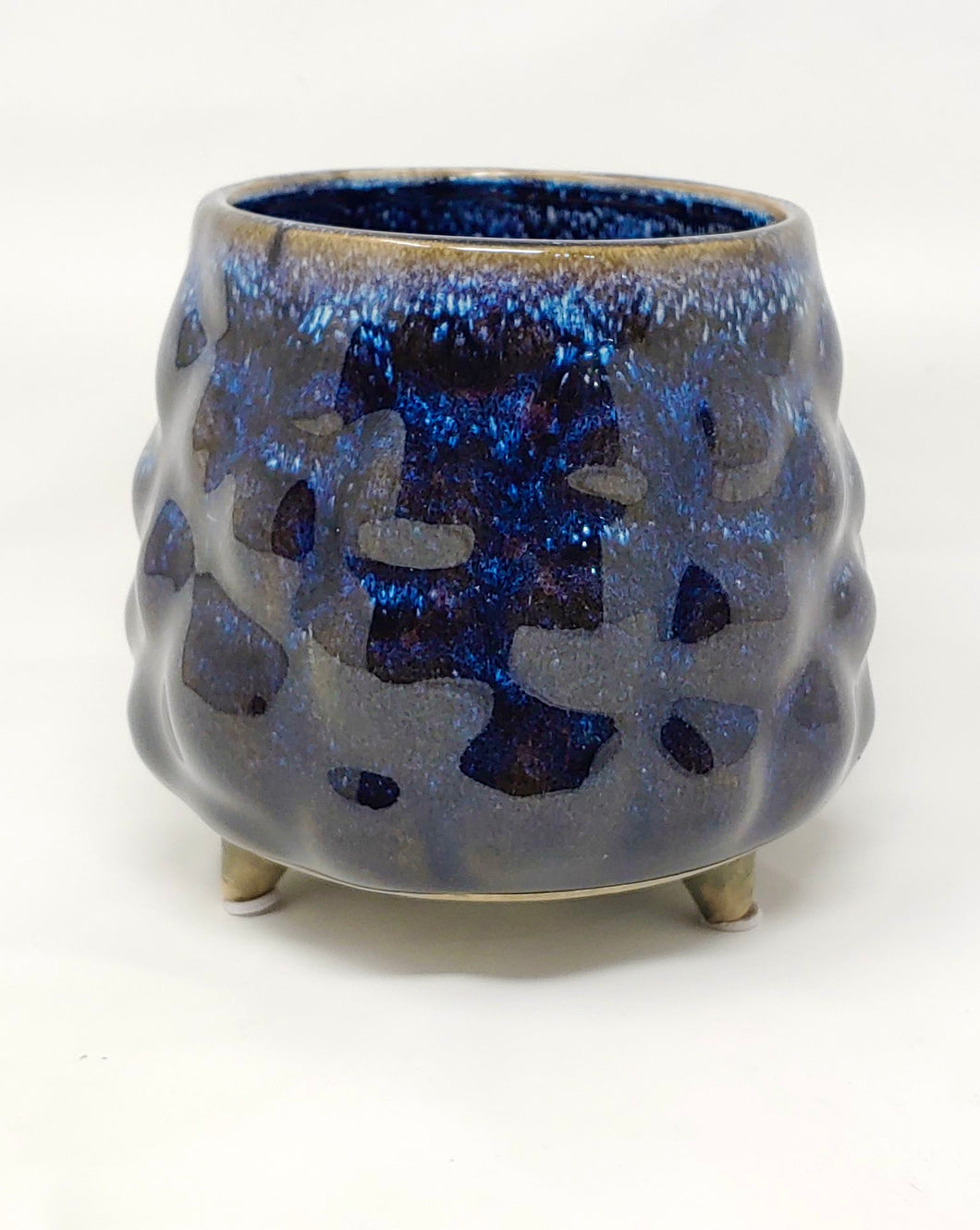 Cerulean Crackle footed planter