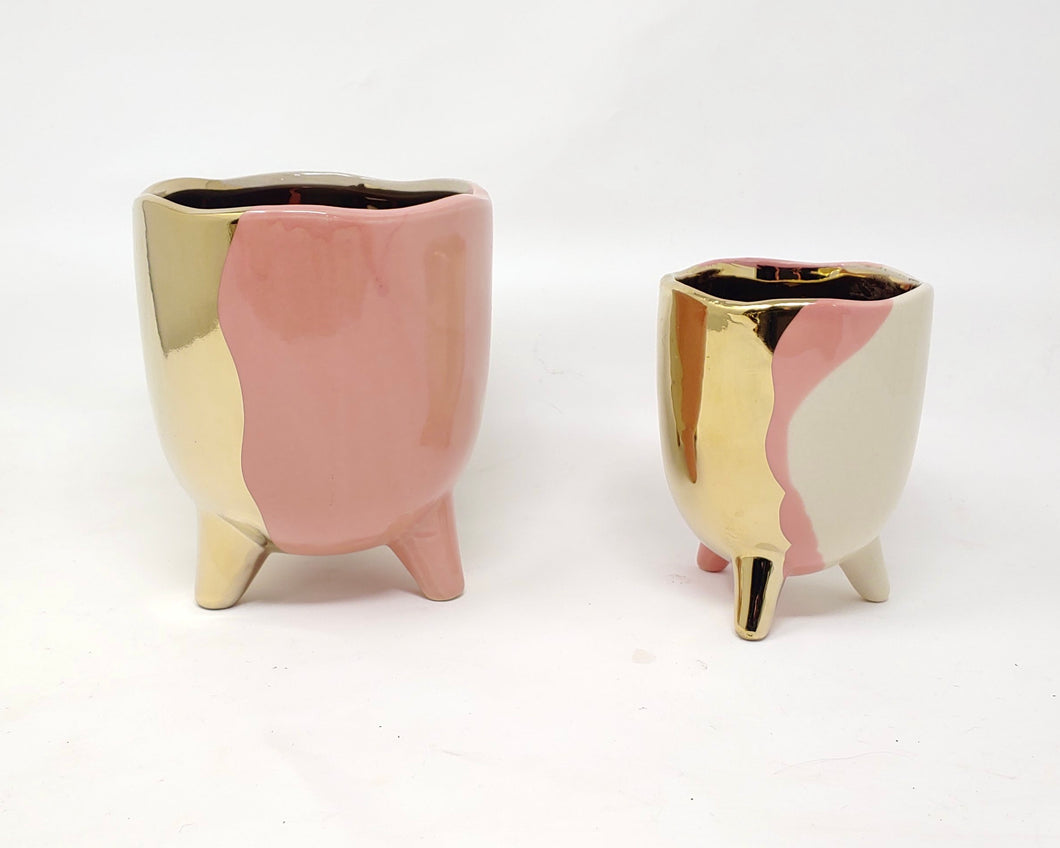 Metallic tri pink footed planter