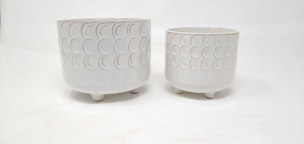 Moon phase white footed planter