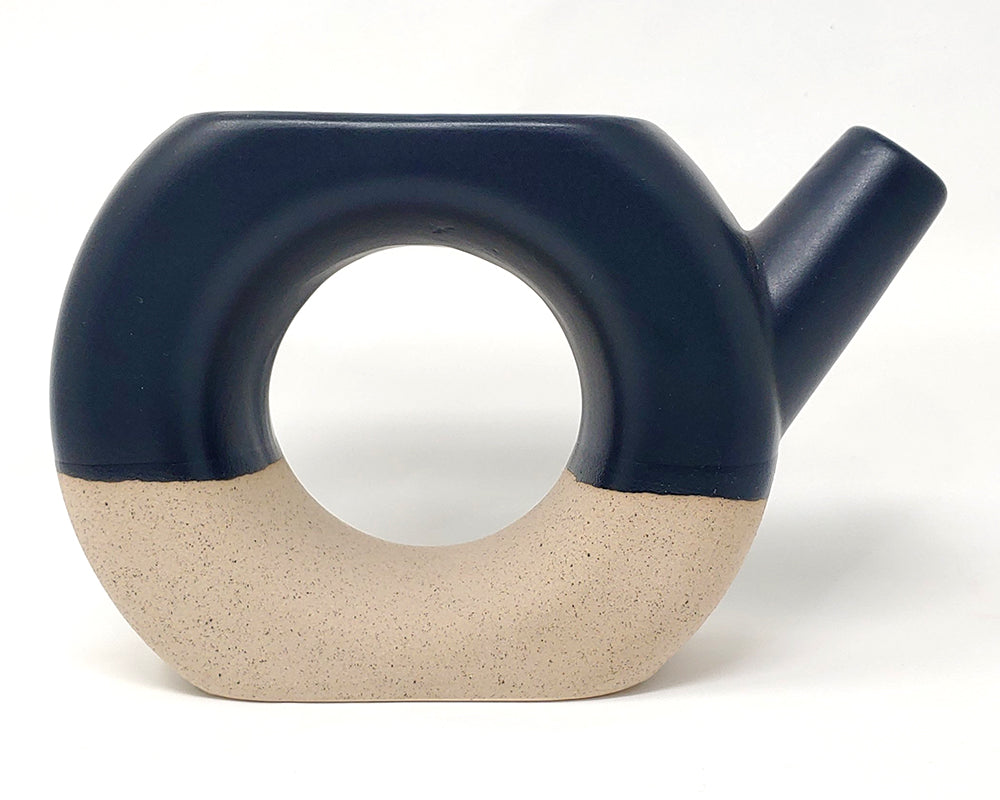 Reclamation ceramic watering pot pitcher colorblock blue