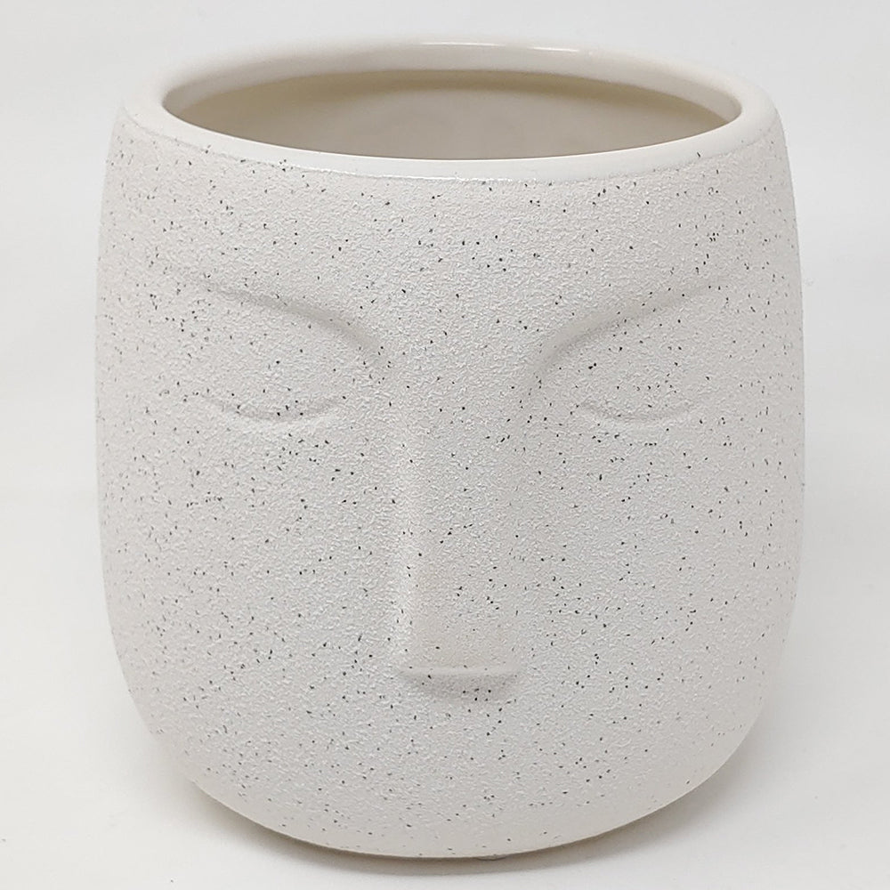 Reclamation face pot white black speckles