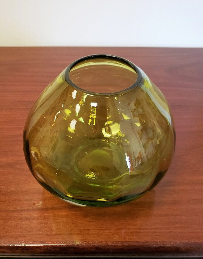 Handblown Green Ovoid Glass Bowl - 085