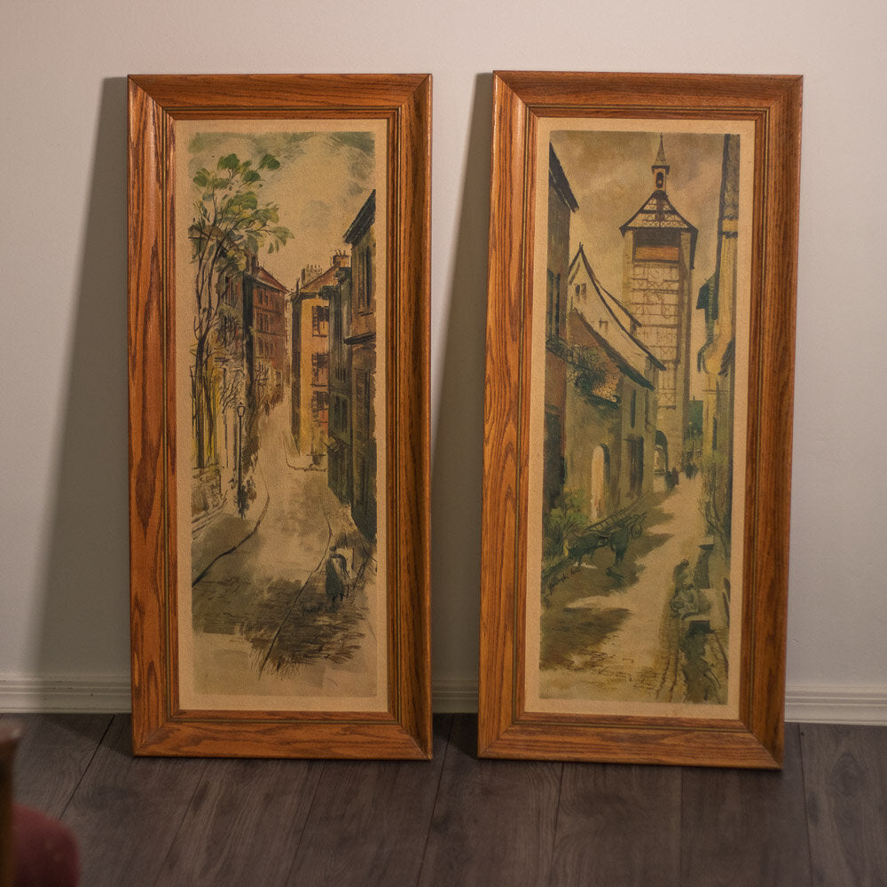 MCM Street Scene Pictures with Oak Frames (Pair) - 366