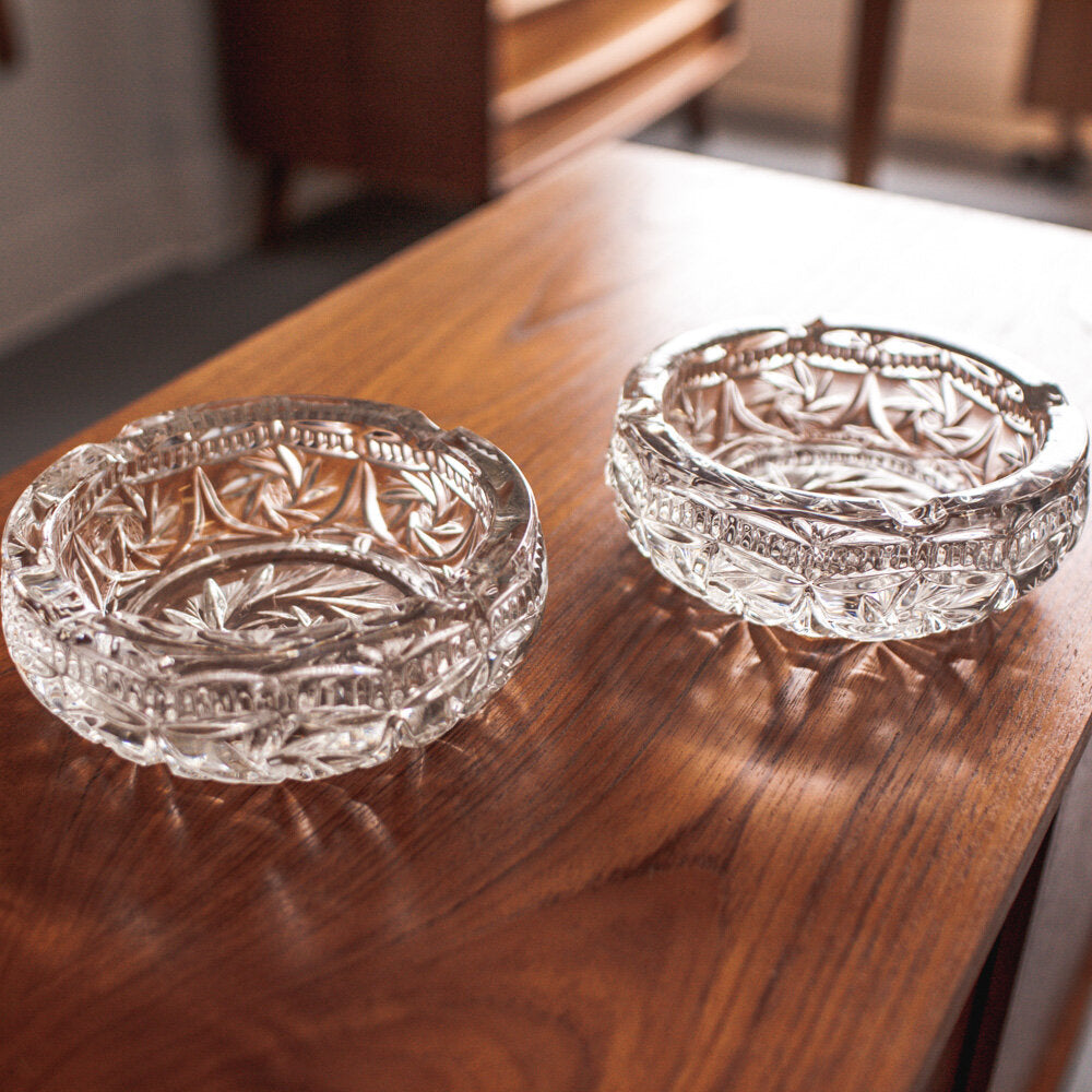 Pinwheel Crystal Ashtrays  (2 available price is per piece) - 006