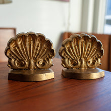 Load image into Gallery viewer, Brass Finish Shell Bookends - 693