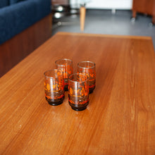 Load image into Gallery viewer, Mid-century Short Glasses x 4 w/ house, trees, leaves - 858
