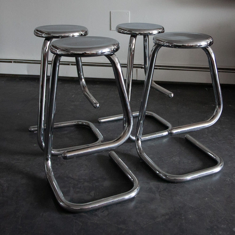 Set of 4 Chrome Paperclip Stools - K158