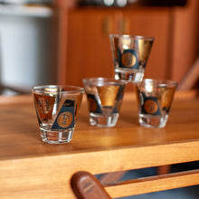 Load image into Gallery viewer, Shot Glasses Black & Gold Coin Motif - 870