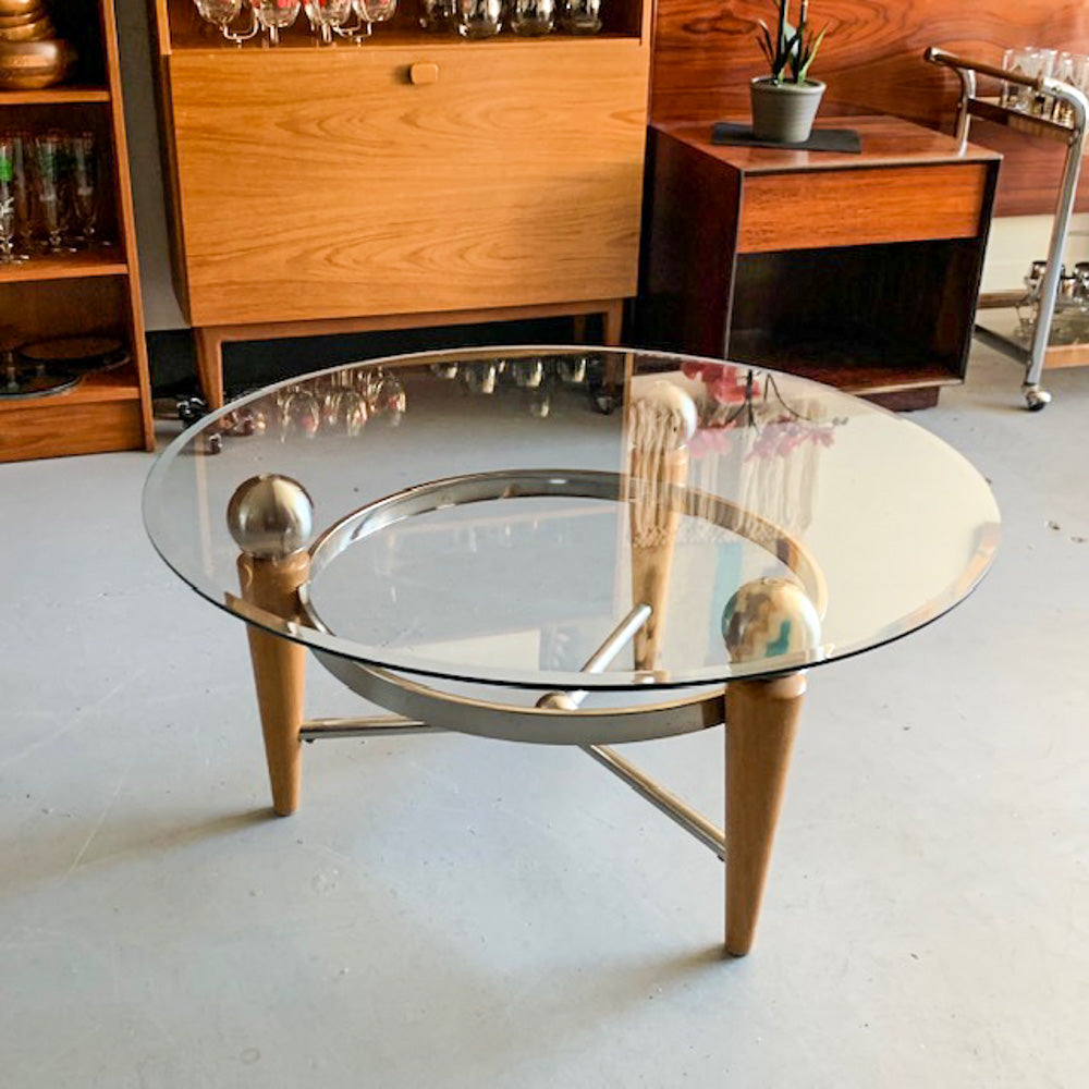 MCM-inspired Round Glass Coffee Table - 052
