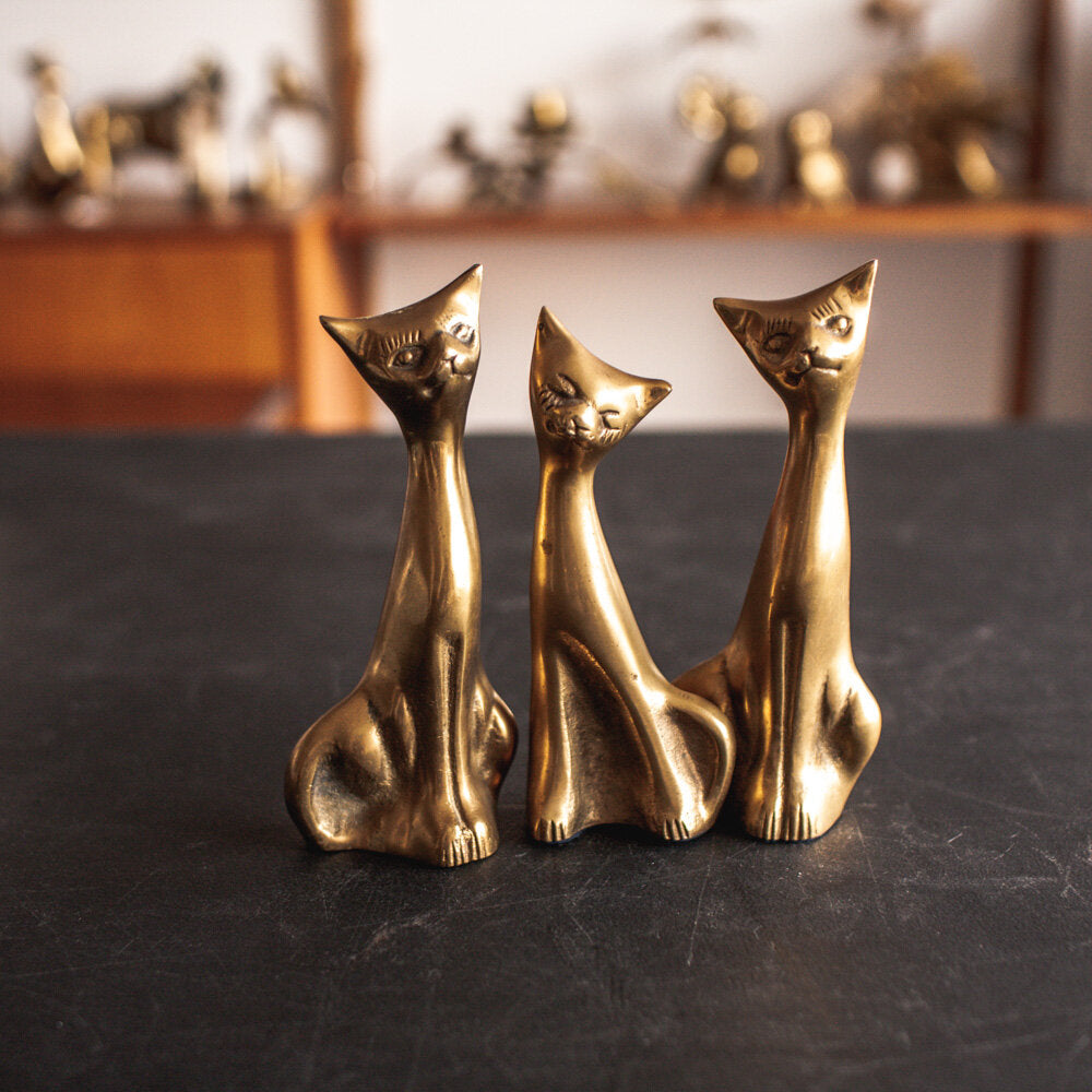 Three (3) Brass Cats - 129