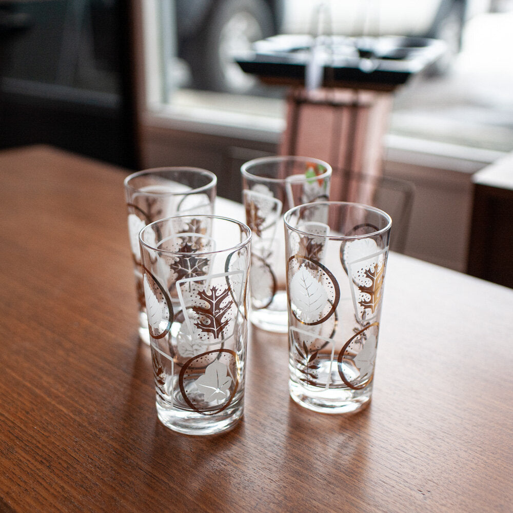 Gold & White Leaf Motif Glasses Set of 4 (10 oz) - 820