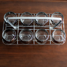 Load image into Gallery viewer, MCM Dorothy Thorpe Roly Poly Glass Set (x8) and Silver Carrier - 822