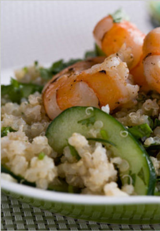 Quinoa Salad with Lime Dressing and Shrimp