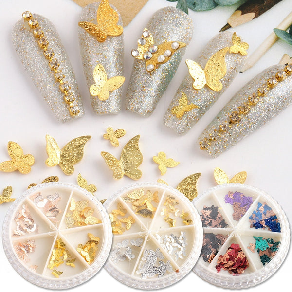1 Wheel 3D Butterfly Nail Glitter Sequins Manicure Holo Slices Nail Art Decoration Gold Silver Metal Flakes Accessories TR1628
