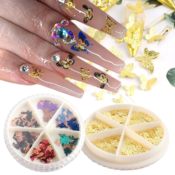 Mixed Size Butterfly Nail Art Decorations Gold Alloy Slices 3D Paillette Nails Accessories Manicure Jewelry Sequins NF1628