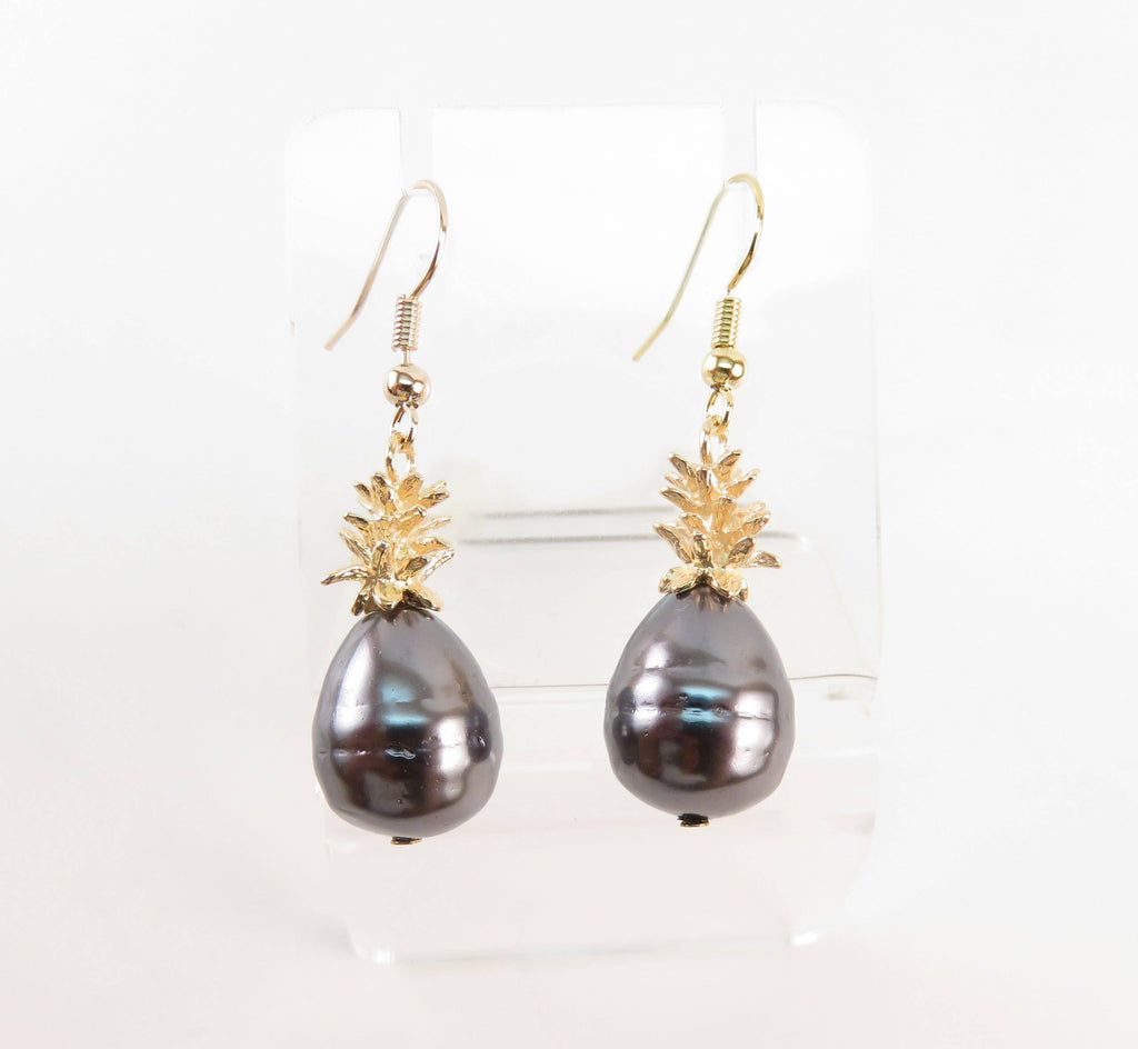 OpalHaus - Black Tahitian Shell Hamilton Gold Pineapple Earrings.
