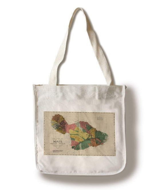 Lantern Press - Maui Hawaii 1885 Panoramic Map Tote