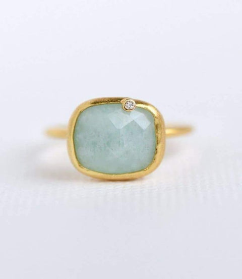 Felix Z Designs - Gold Gemstone Cushion Diamond Ring