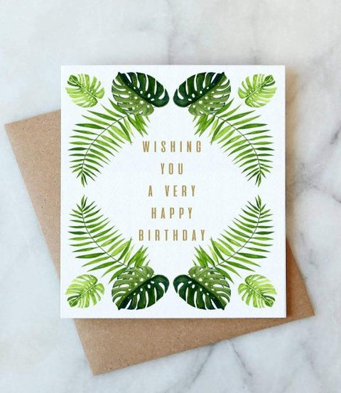 Abigail Jayne Design - Tropical Leaves Birthday Card